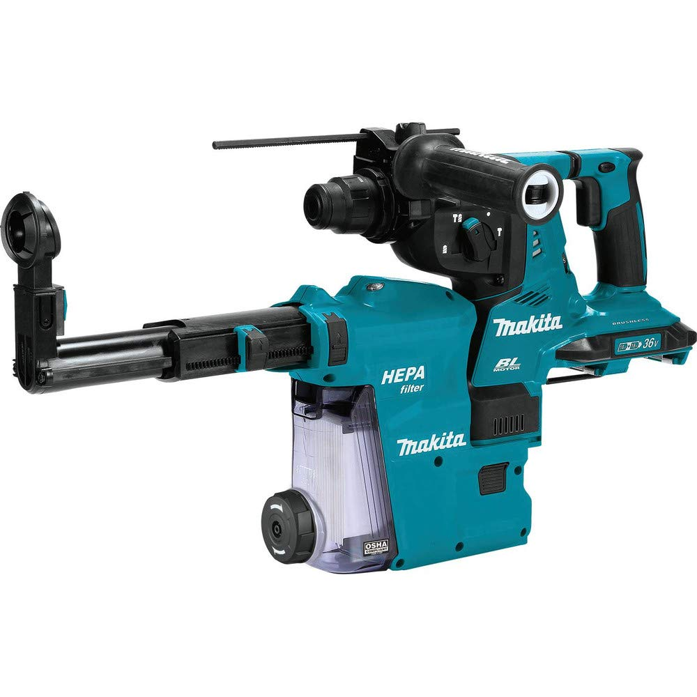 Makita XRH01ZVX 18V LXT Lithium-Ion Cordless Brushless 1-Inch SDS-PLUS  Rotary Hammer with HEPA Vacuum Attachment