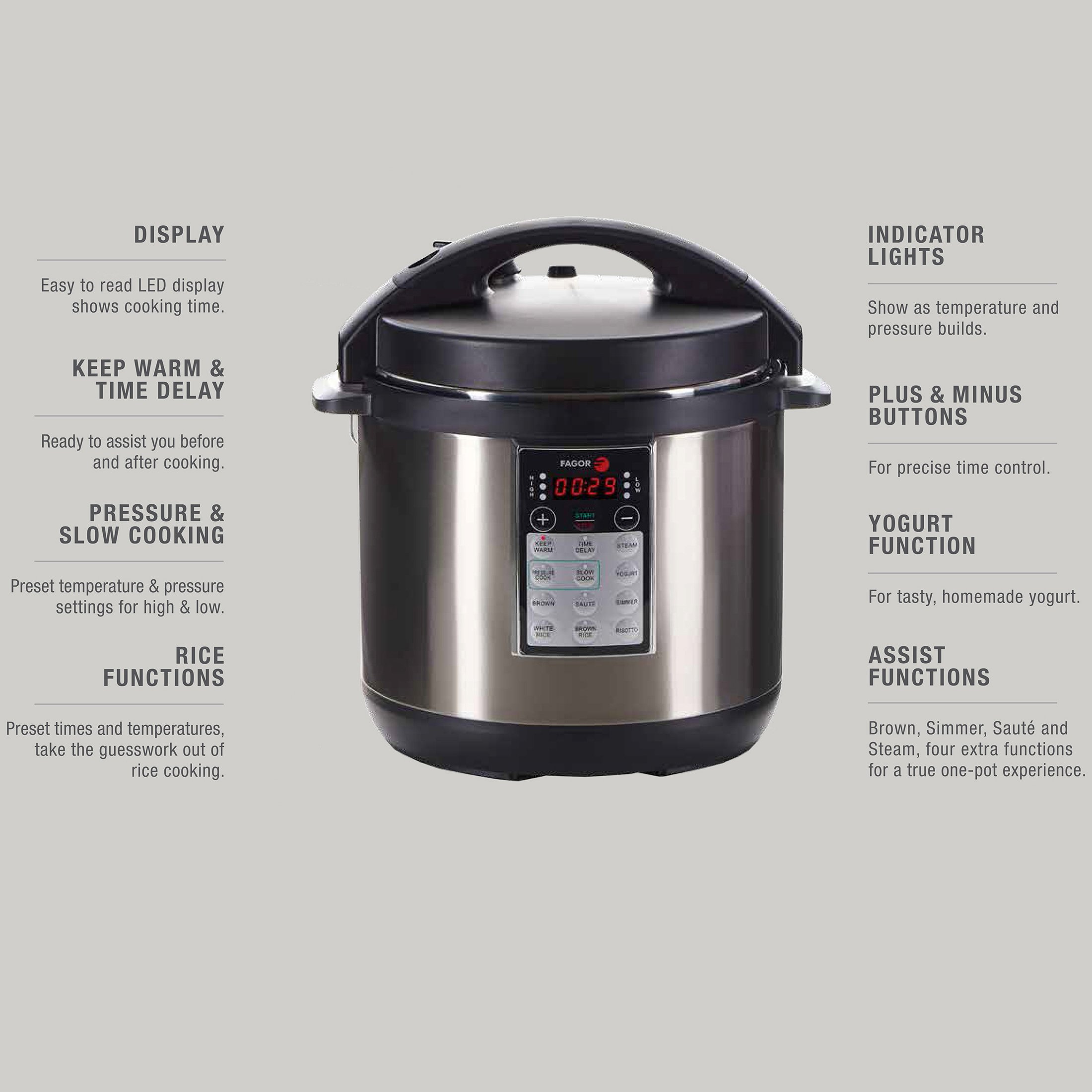 buyr.com - Fagor LUX Multi-Cooker, 6 quart, Electric Pressure Cooker, Slow  Cooker, Rice Cooker, Yogurt Maker and more, Silver - 670041880
