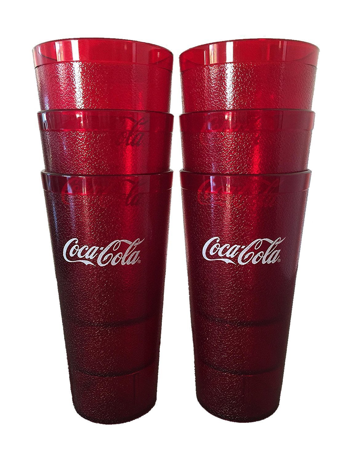 Coca-Cola Cups, Red Plastic Tumbler 32-Ounce Restaurant Grade, Carlisle, Set of 6