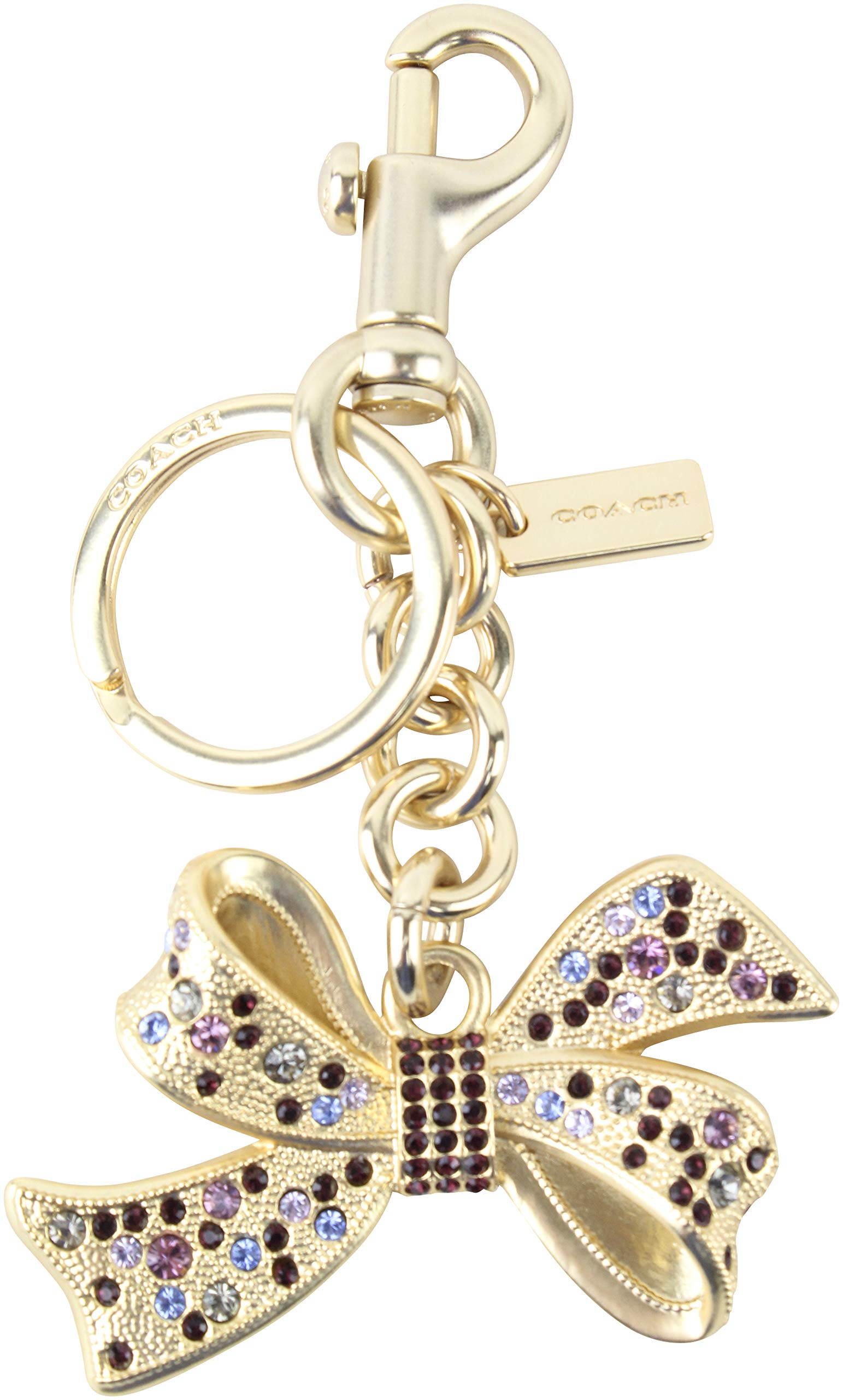 Coach Women S Bow Jeweled Valet Key Ring Purse Charm In Gold One Size Style F74105