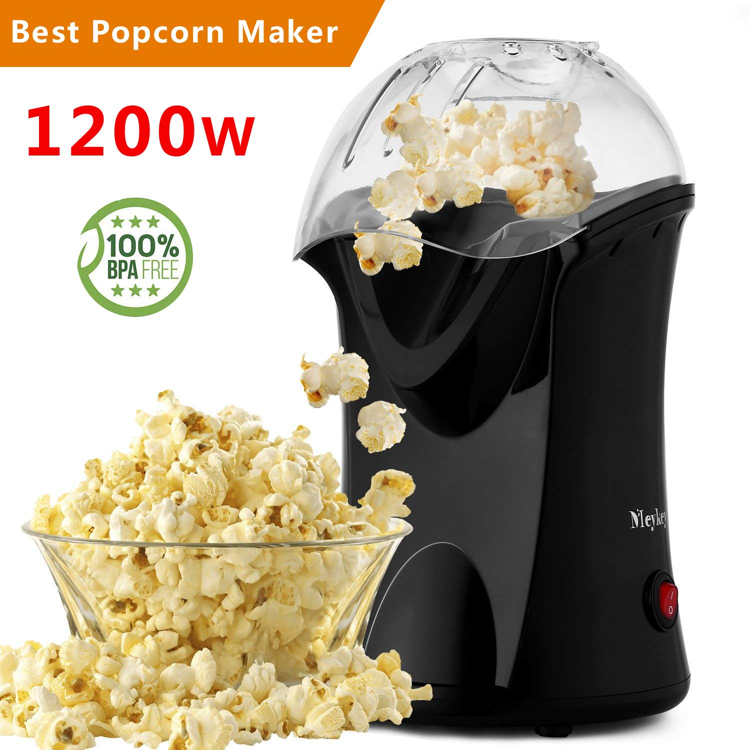 Popcorn Maker, Popcorn Machine, 1200W Hot Air Popcorn Popper Healthy Machine No Oil Needed ( )