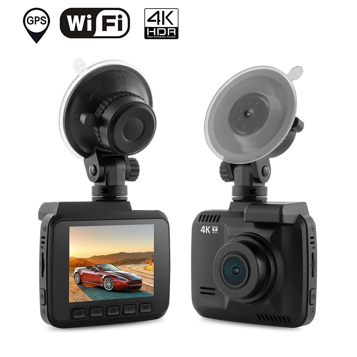 "Dash Cam Car DVR Dashboard Camera Recorder with Built-In WiFi & GPS, 4K FHD, APP Support, G-Sensor, 2.4"" LCD, 150 Degree Wide-Angle Lens, Loop Recording, Great Night Vision, Parking Monitor"
